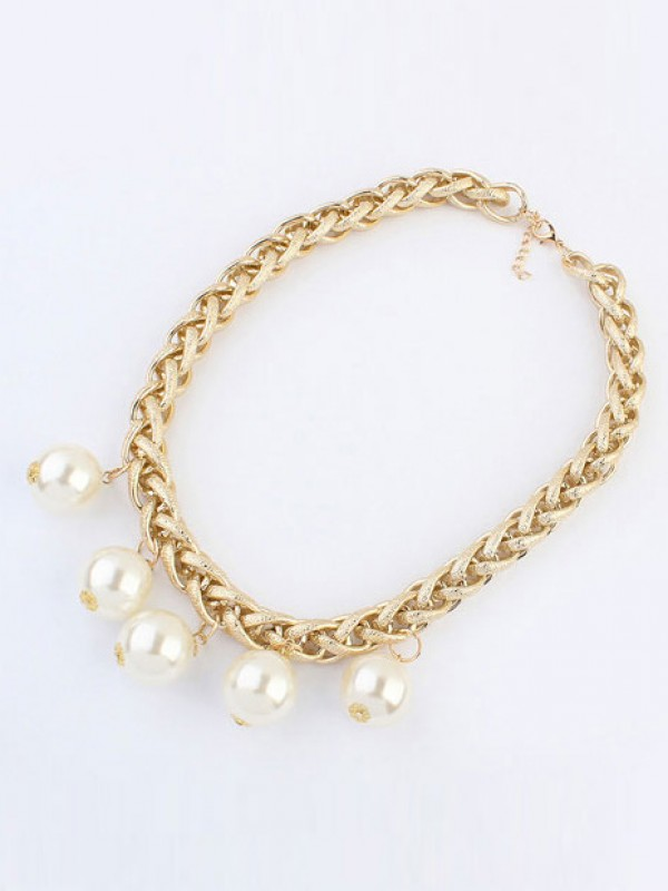 Occident Metallic Punk Imitation pearls Necklace