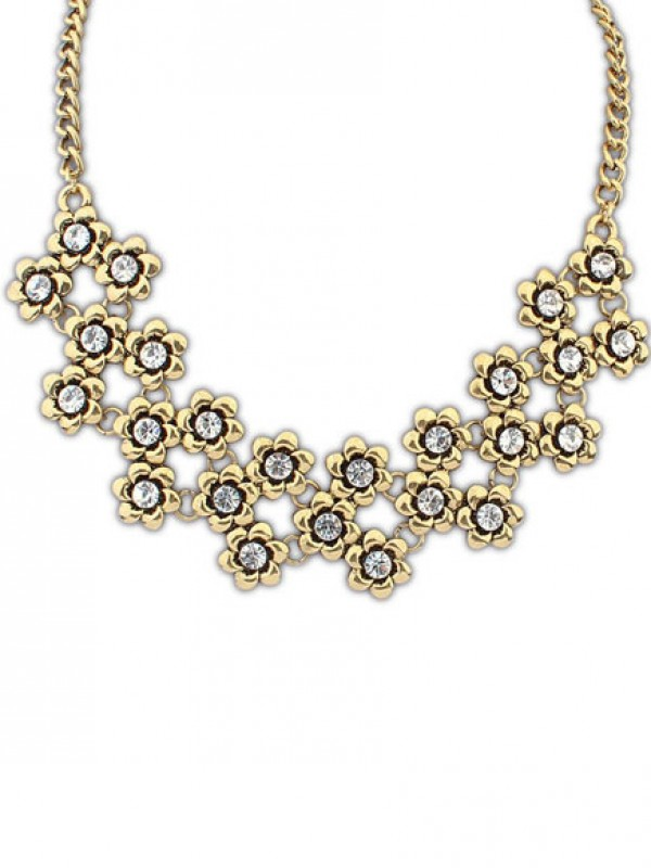 Occident Stylish Retro Metallic Plum flower Necklace