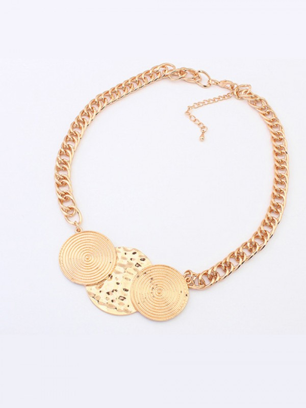 Occident Trendy Punk Stylish Round Plate Necklace