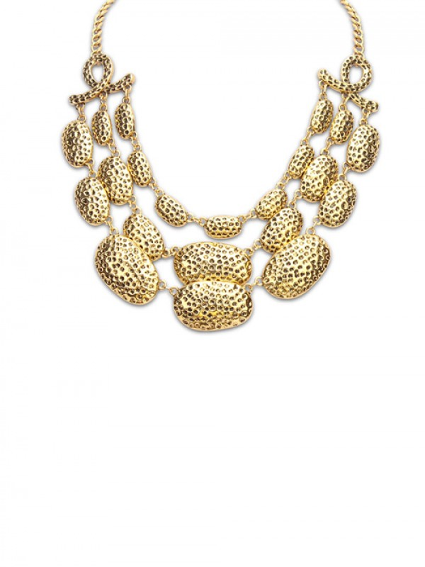 Occident Trendy New Metallic Multi-Layered Necklace