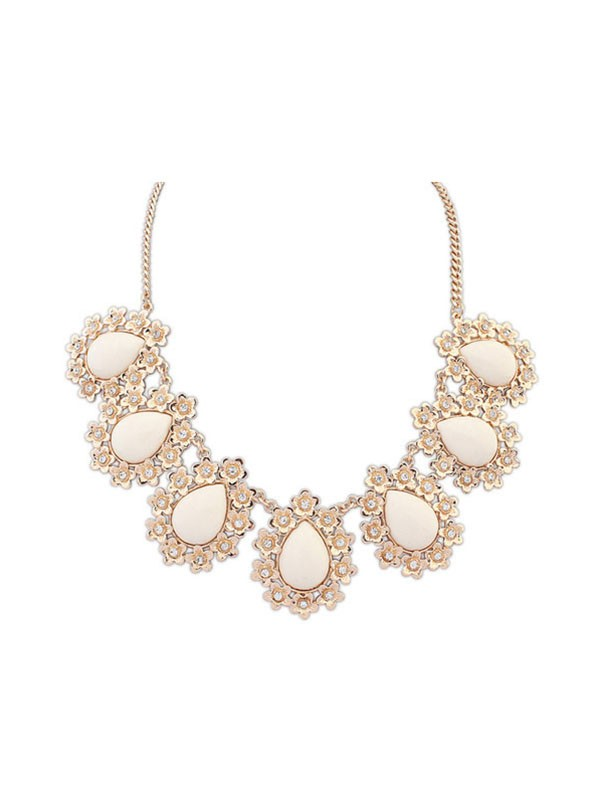 Occident All-match Floret Water Drop Temperament Necklace