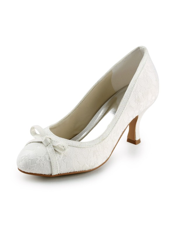 Women's Satin Spool Heel Closed Toe Pumps Wedding Shoes With Bowknot