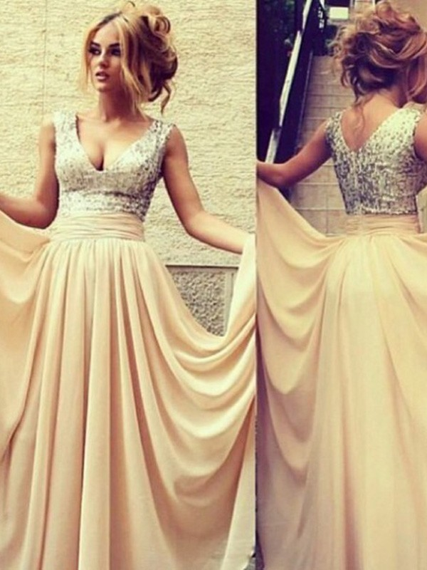 Champagne Chiffon V-neck A-Line/Princess Floor-Length Dresses