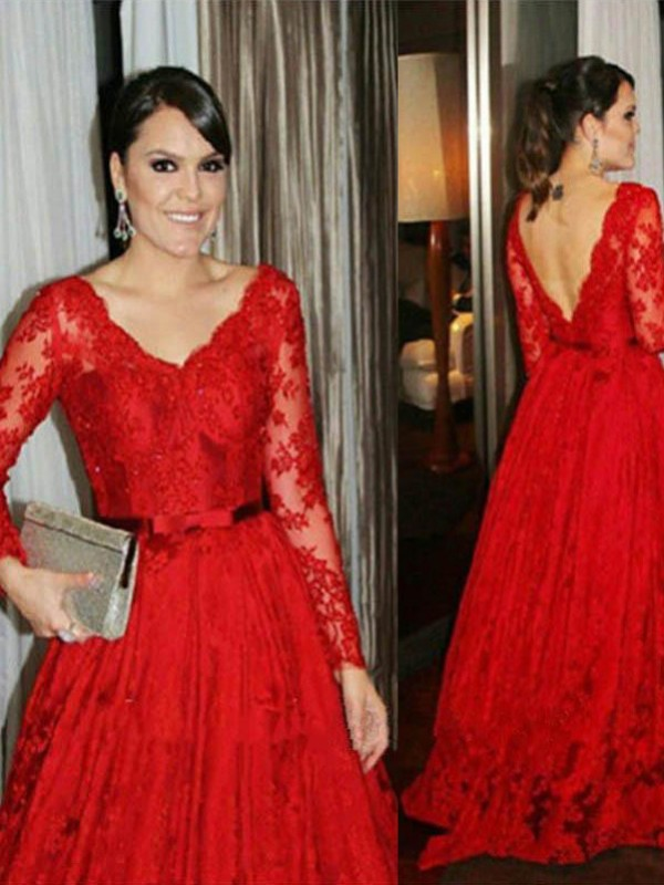 A-Line/Princess Sheer Neck 1/2 Sleeves Lace Floor-Length Chiffon Mother Of The Bride Dresses