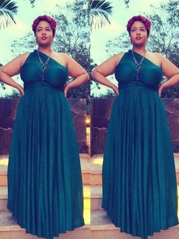 A-Line/Princess One-Shoulder Sleeveless Ruched Floor-Length Chiffon Plus Size Dresses