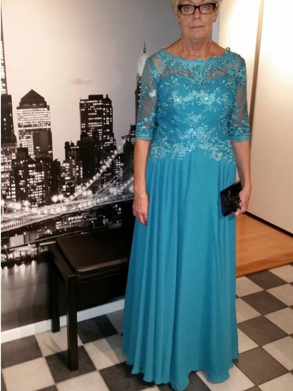 A-Line/Princess V-neck 1/2 Sleeves Lace Sweep/Brush Train Chiffon Mother Of The Bride Dresses