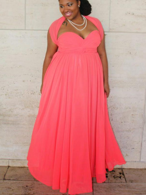 A-Line/Princess Sweetheart Sleeveless Ruched Floor-Length Chiffon Plus Size Dresses