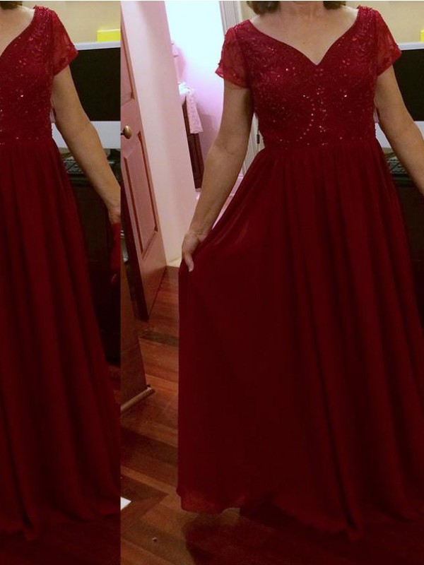 A-Line/Princess Scoop Short Sleeves Lace Floor-Length Chiffon Mother Of The Bride Dresses