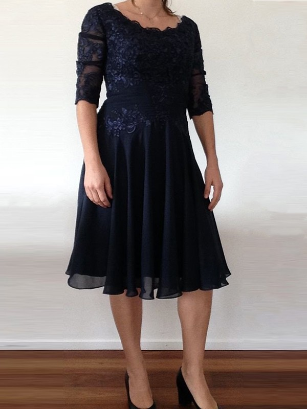 A-Line/Princess Scoop Short Sleeves Beading Tea-Length Chiffon Mother Of The Bride Dresses