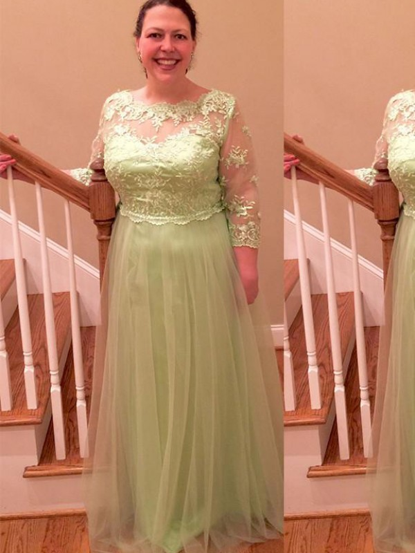 Sheath/Column Sheer Neck 3/4 Sleeves Applique Floor-Length Satin Mother Of The Bride Dresses