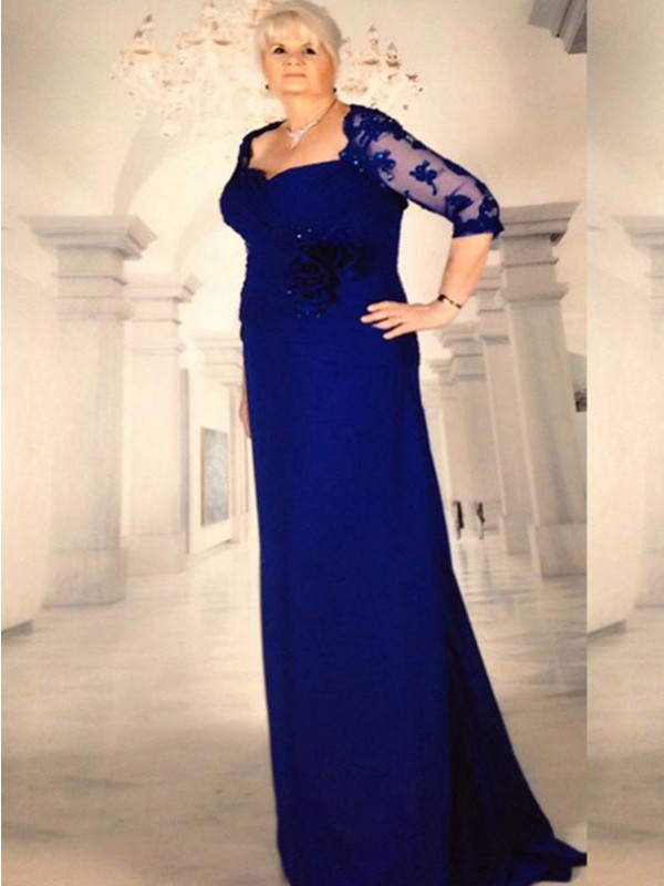 A-Line/Princess V-neck Long Sleeves Beading Floor-Length Chiffon Mother Of The Bride Dresses