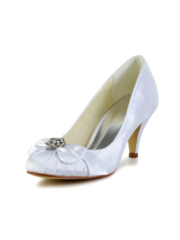 Women's Satin Cone Heel Closed Toe Wedding Shoes With Bowknot Rhinestone