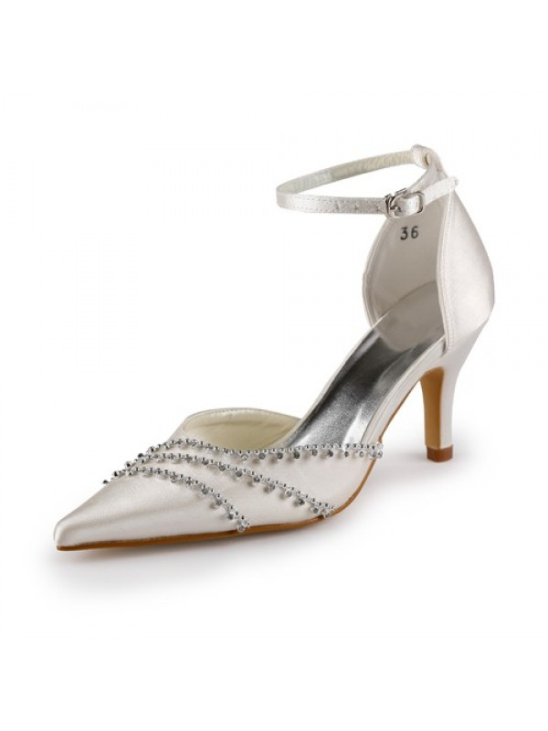 Women's Nice Satin Stiletto Heel Closed Toe Wedding Shoes With Buckle
