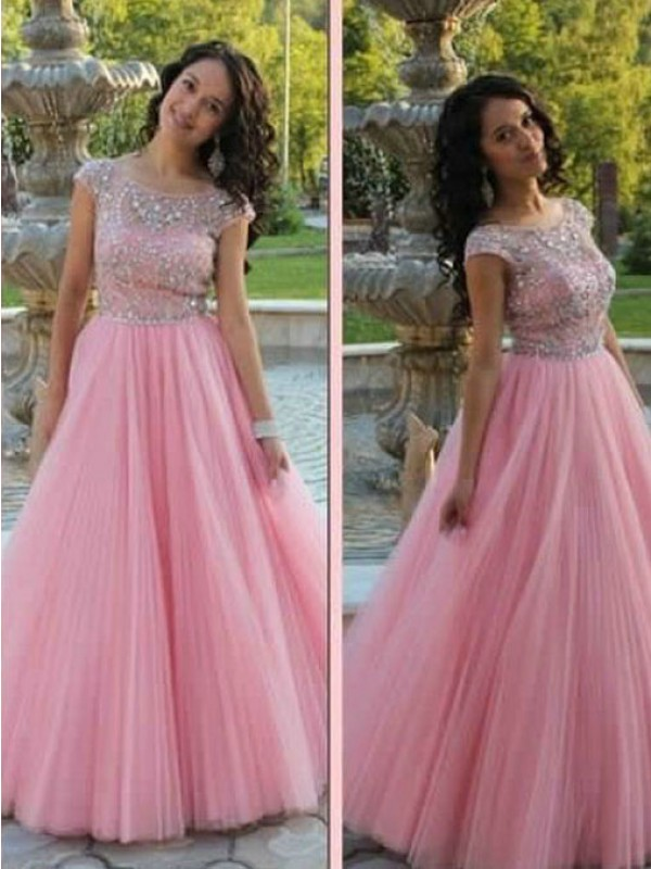 A-Line/Princess Short Sleeves Scoop Beading Tulle Floor-Length Dress