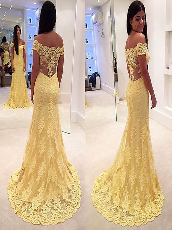 Trumpet/Mermaid Off-the-Shoulder Sleeveless Lace Sweep/Brush Train Dress