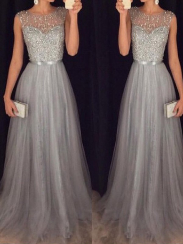 A-Line/Princess Scoop Sleeveless Tulle Beading Sweep Dresses