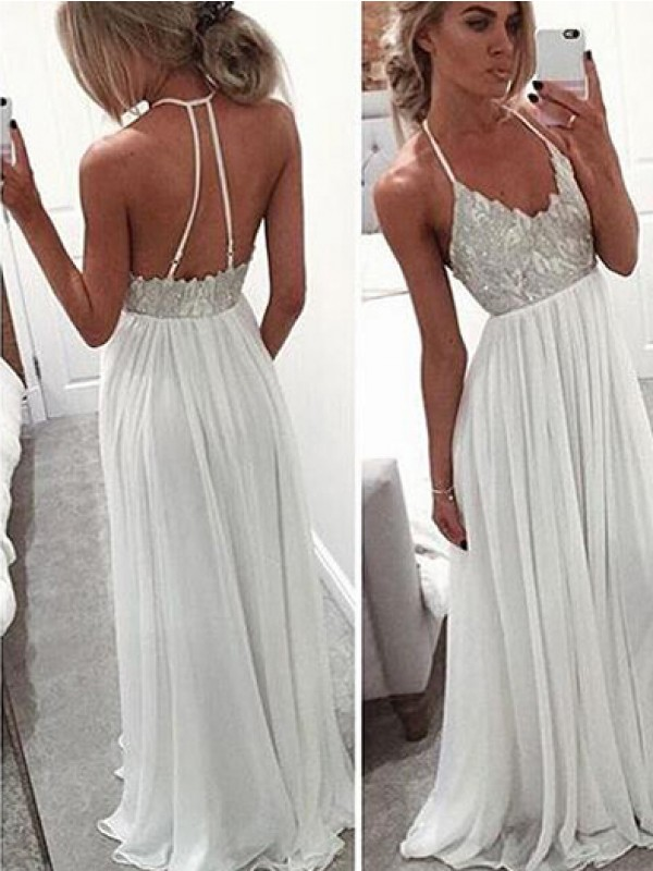 A-Line/Princess Halter Chiffon Beading Sweep/Brush Train Dresses