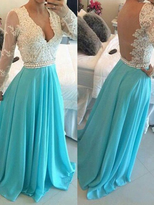 Princess V-neck Chiffon Long Sleeves Applique Sweep/Brush Train Dresses