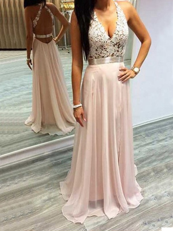 A-Line/Princess Halter Sleeveless Chiffon Lace Brush Train Dresses
