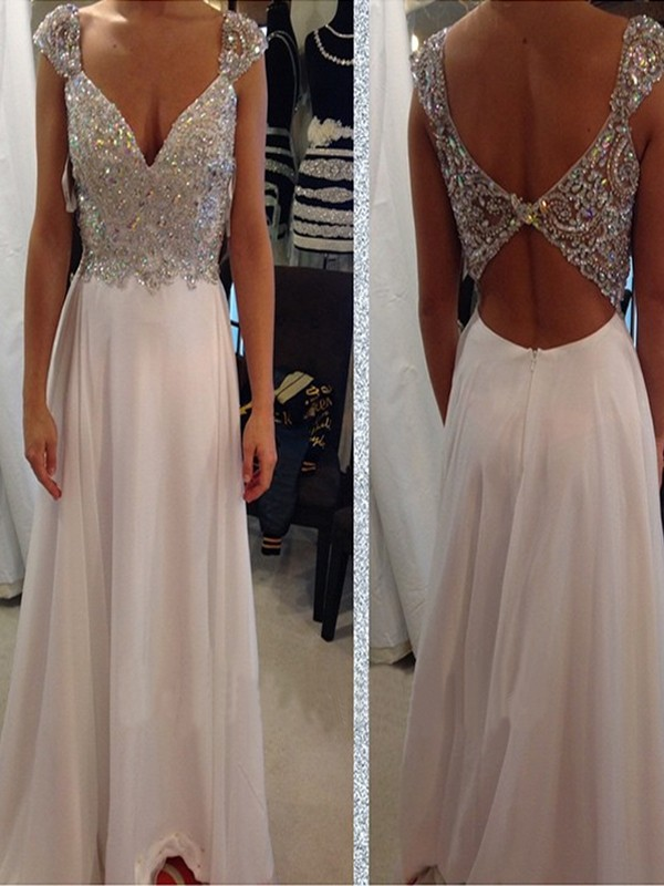 A-Line/Princess Sleeveless V-neck Chiffon Beading Floor-Length Dress