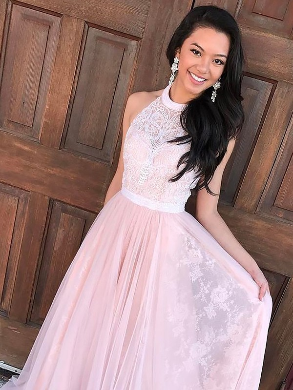 A-Line/Princess Sleeveless Halter Tulle Lace Sweep/Brush Train Dresses