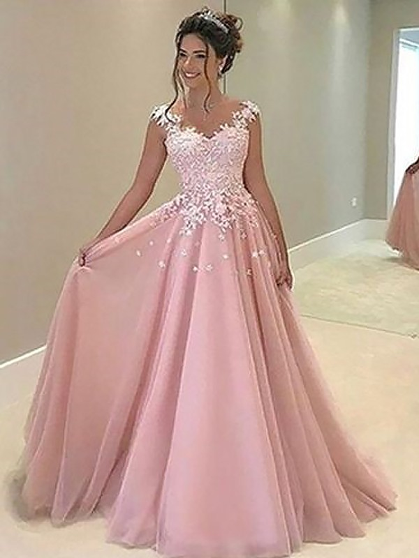 A-Line/Princess Sweetheart Floor-Length Applique Tulle Dresses