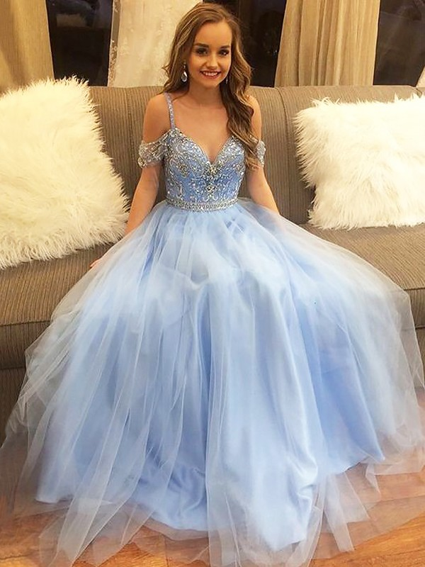 A-Line/Princess Off-the-Shoulder Beading Floor-Length Tulle Dresses