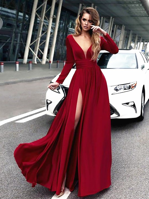 A-Line/Princess V-neck Ruffles Floor-Length Satin Dresses
