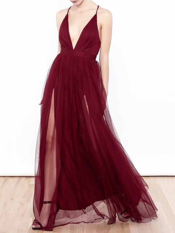 A-Line/Princess V-neck Ruffles Floor-Length Tulle Dresses