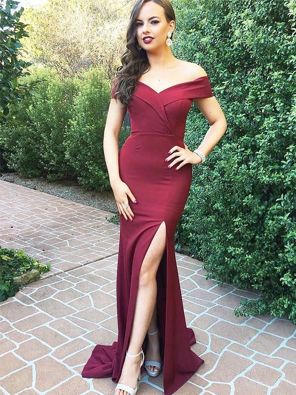 A-Line/Princess Off-the-Shoulder Ruched Floor-Length Satin Dresses