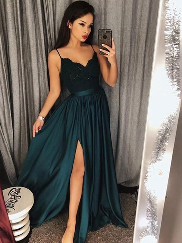 A-Line/Princess Spaghetti Straps Floor-Length Lace Silk like Satin Dresses