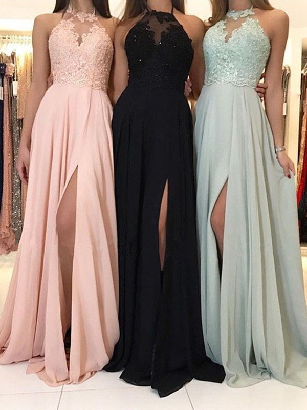 A-Line/Princess Halter Sweep/Brush Train Applique Chiffon Dresses