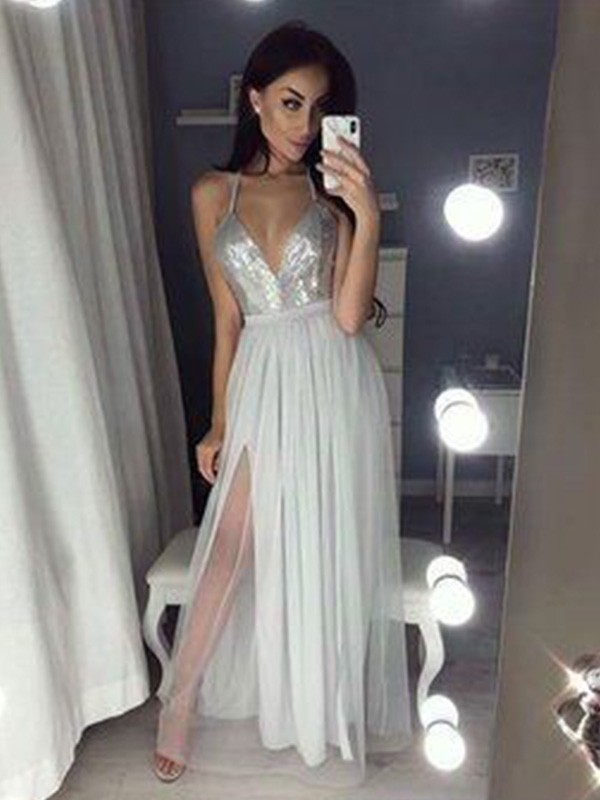 A-Line/Princess V-neck Floor-Length Beading Chiffon Dresses