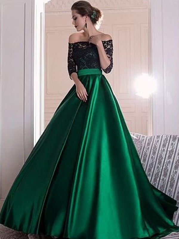 A-Line/Princess Off-the-Shoulder Sweep/Brush Train Ruffles Satin Dresses