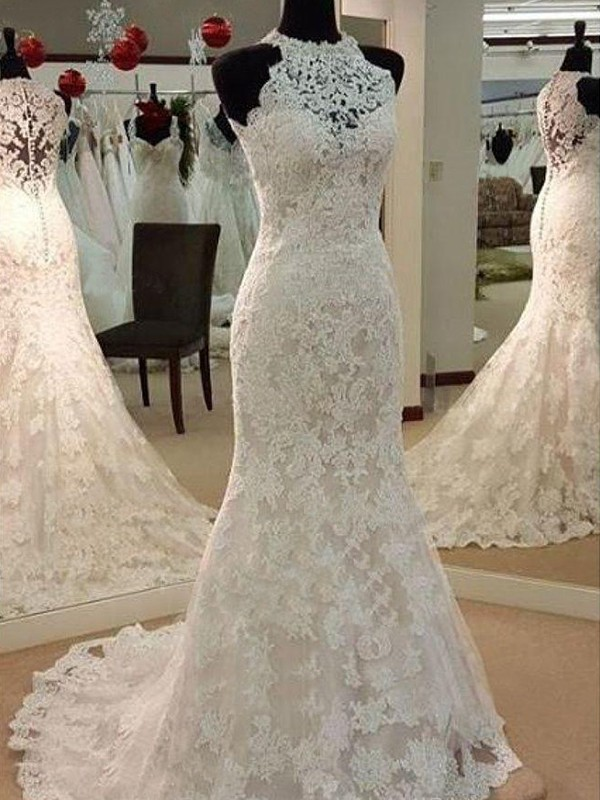 Sheath/Column Scoop Lace Sleeveless Sweep/Brush Train Wedding Dresses