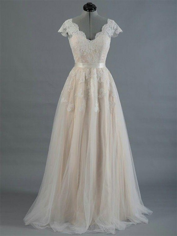 A-Line/Princess V-neck Lace Sleeveless Floor-Length Wedding Dresses