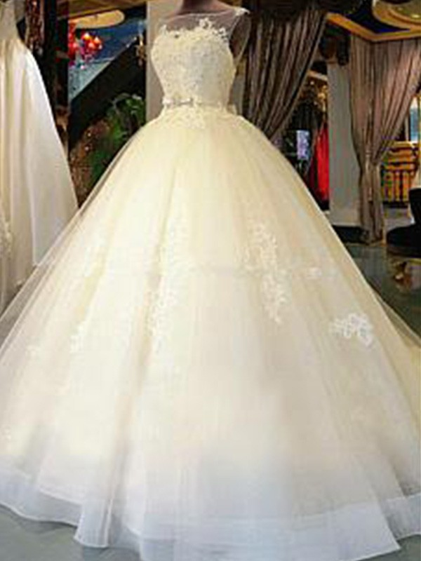 Ball Gown Scoop Tulle Sleeveless Cathedral Train Wedding Dresses