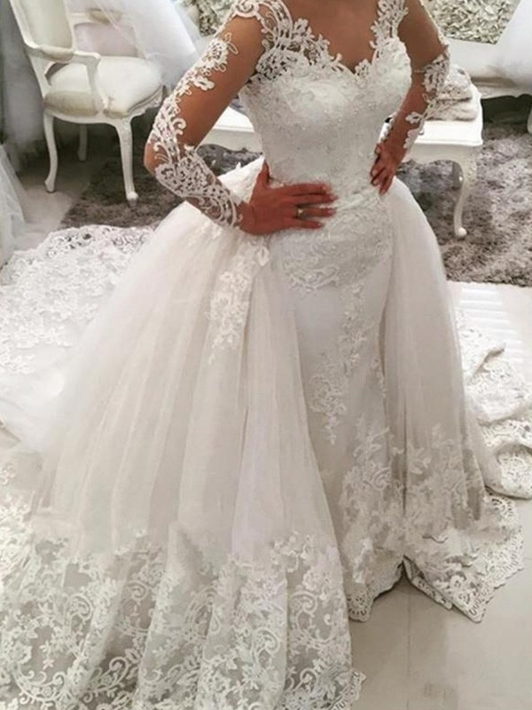 Ball Gown V-neck Tulle Long Sleeves Cathedral Train Wedding Dresses