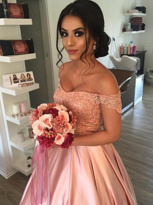 Ball Gown Off-the-Shoulder Satin Sleeveless Cathedral Train Wedding Dresses