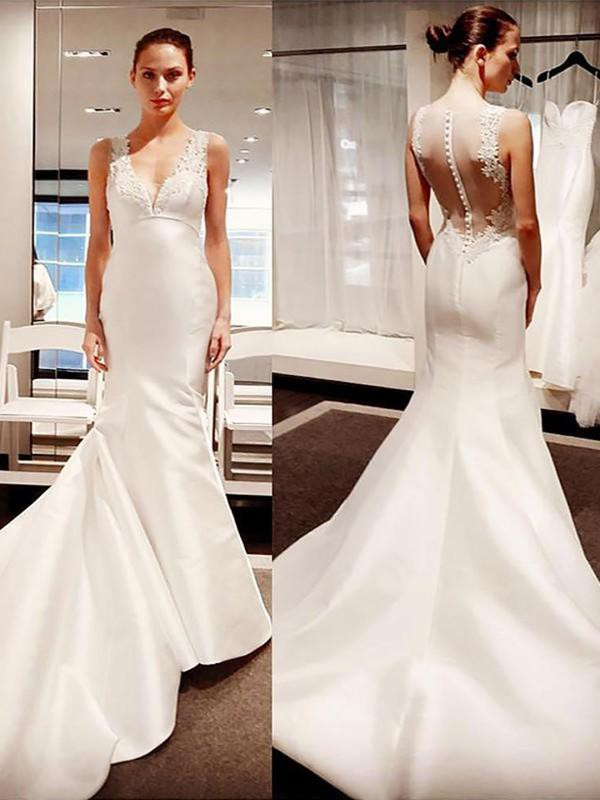 Trumpet/Mermaid V-neck Satin Sleeveless Court Train Wedding Dresses