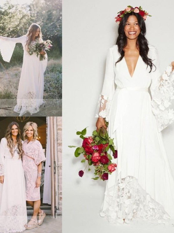 A-Line/Princess V-neck Chiffon Long Sleeves Floor-Length Wedding Dresses