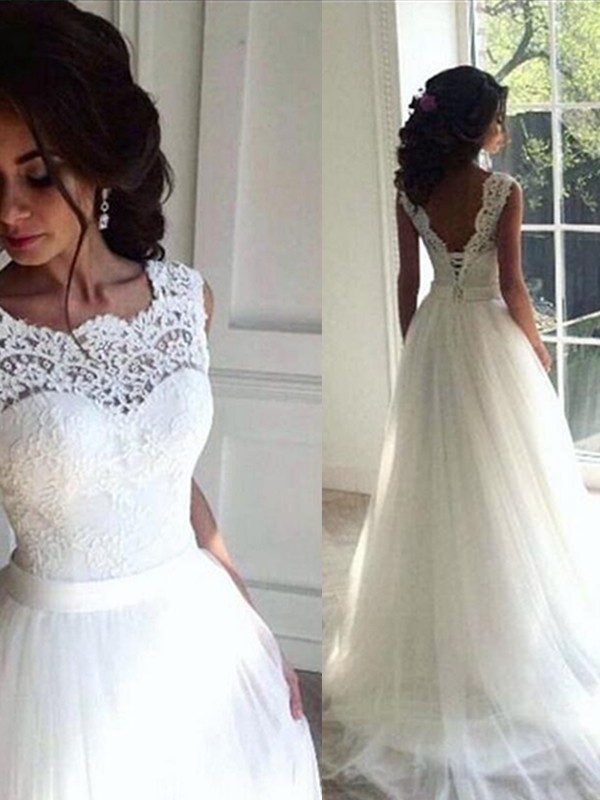 A-Line/Princess Bateau Tulle Sleeveless Sweep/Brush Train Wedding Dresses
