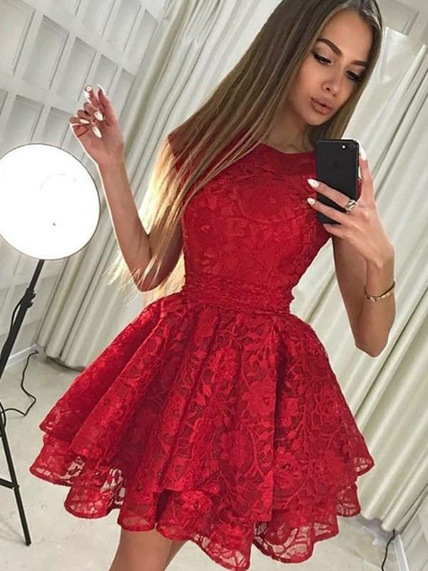 A-Line/Princess Scoop Short/Mini Lace Lace Dresses