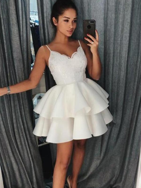 A-Line/Princess Spaghetti Straps Short/Mini Ruffles Satin Dresses