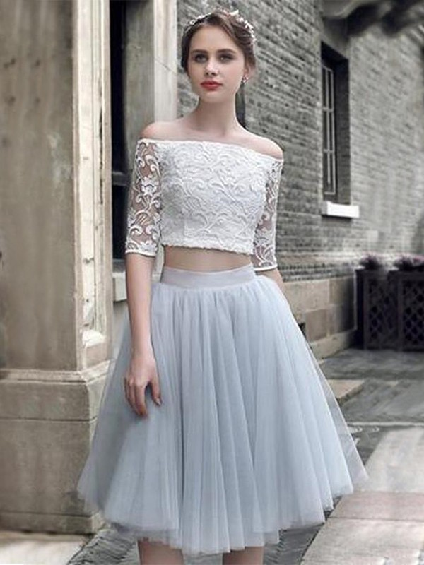 A-Line/Princess Off-the-Shoulder Knee-Length Ruched Tulle Two Piece Dresses