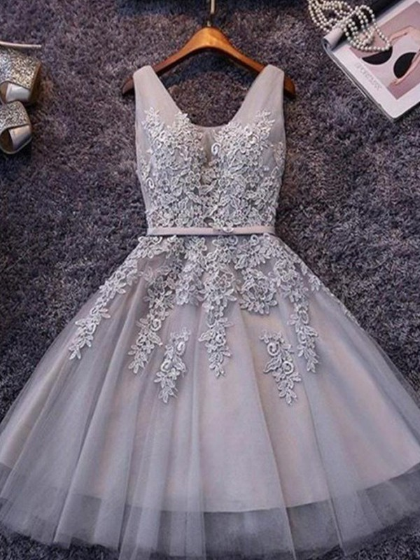 A-Line/Princess Straps Short/Mini Applique Tulle Dresses