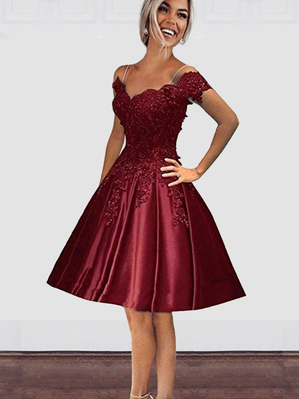 A-Line/Princess Off-the-Shoulder Knee-Length Applique Satin Dresses