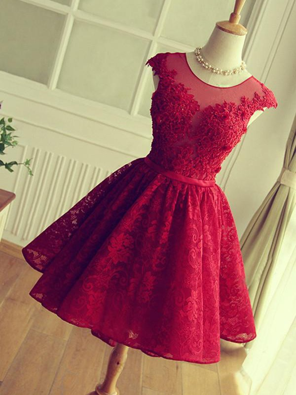 A-Line/Princess Jewel Short/Mini Applique Lace Dresses