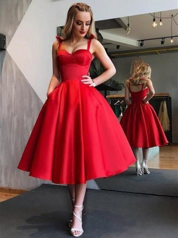 A-Line/Princess Straps Tea-Length Ruffles Satin Dresses