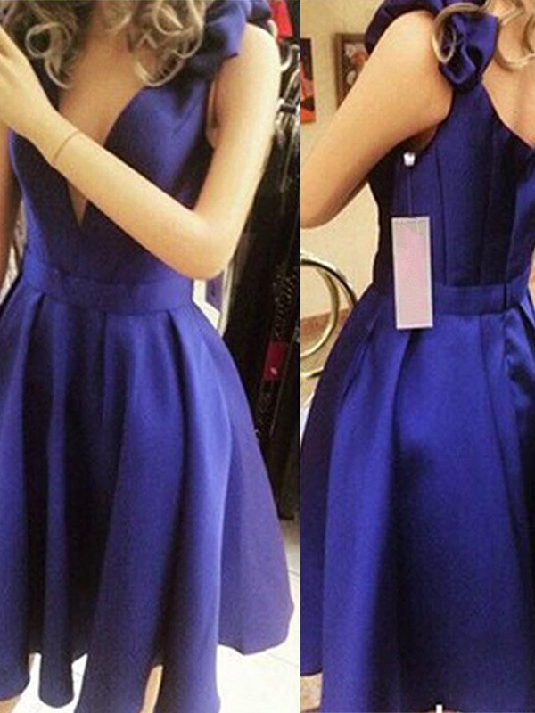 A-Line/Princess Straps Short/Mini Bowknot Satin Dresses
